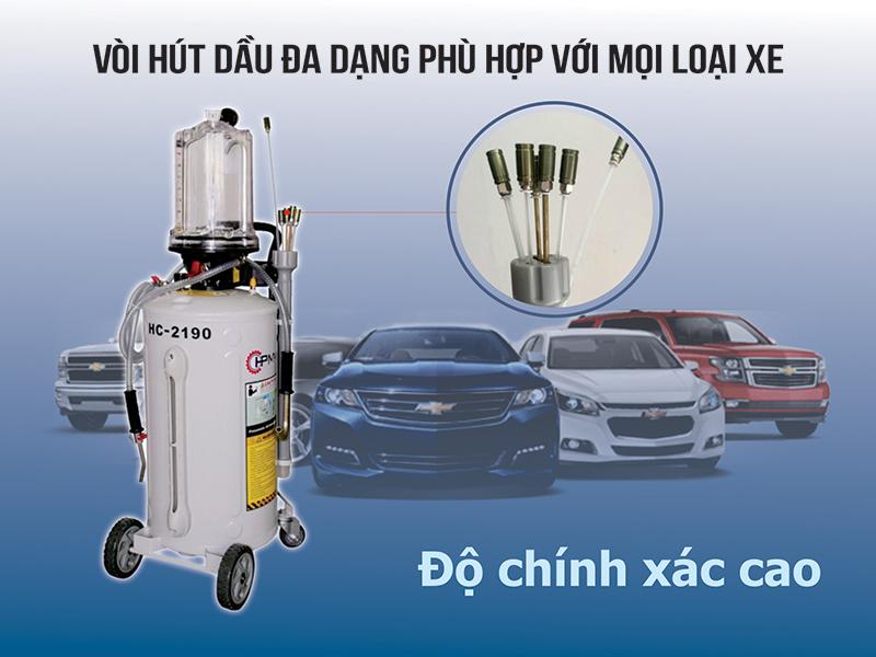 Máy hút dầu thải khí nén HC-2190 vòi hút đa dạng, phù hợp với mọi loại xe